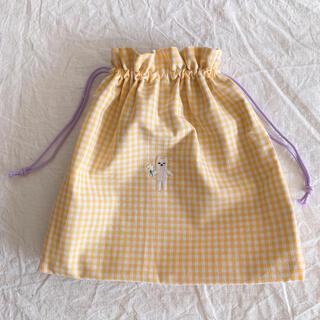 SALE巾着 ギンガムチェック イエロー チェックアンドストライプ (外出用品)