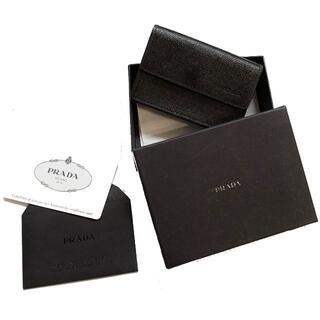 プラダ(PRADA)の正規品 PRADA サフィアーノレザー名刺入れ カードケース 美品 黒 本物(名刺入れ/定期入れ)