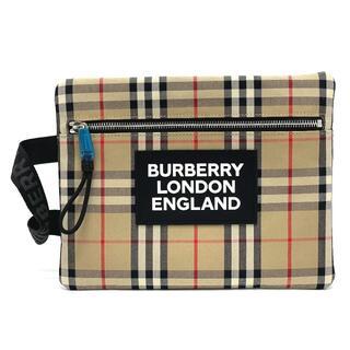 バーバリー(BURBERRY)の未使用 バーバリー 8017483 チェック クラッチバッグ ロゴ ベージュ(クラッチバッグ)