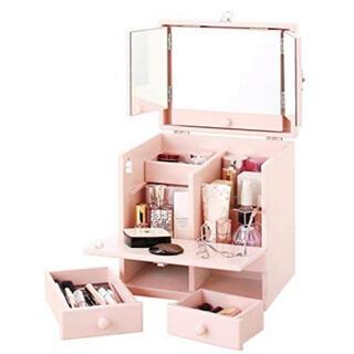 三面鏡付き 木製メイクボックス(メイクボックス)