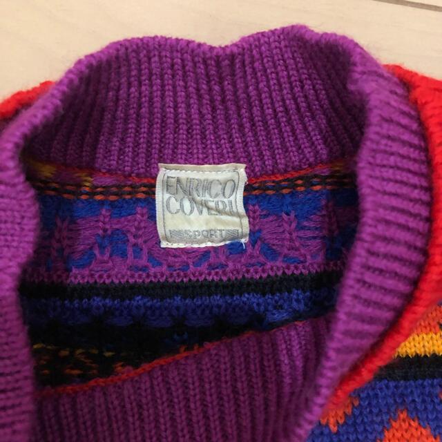 ENRICO COVERI(エンリココベリ)の90' ニット セーター エンリココベリ 古着 カラフル レディース 総柄 レディースのトップス(ニット/セーター)の商品写真