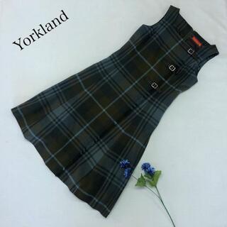 Yorkland - ♪美品♪ Yorkland チェック ワンピース ノースリーブ フリンジ レトロ