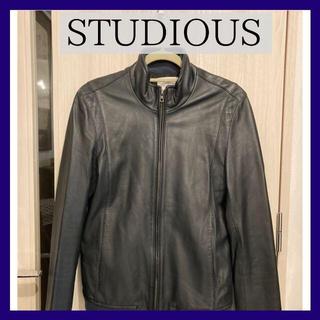 ステュディオス(STUDIOUS)のSTUDIOUS ラムレザースタンドカラージャケット ネイビー 美品(レザージャケット)
