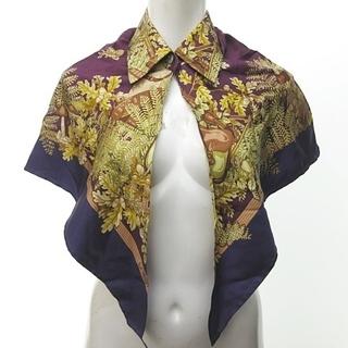 ロエベ(LOEWE)のロエベ LOEWE スカーフ 襟付き 羽織 シルク 三角ストール 猟犬 どんぐり(その他)