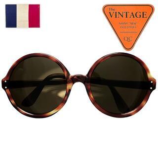 デッド50sフランスヴィンテージオーバーサイズBIGラウンドサングラス鼈甲柄眼鏡(サングラス/メガネ)