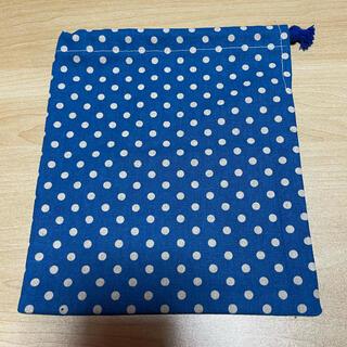 巾着袋*小*ドット(ブルー×白)(外出用品)