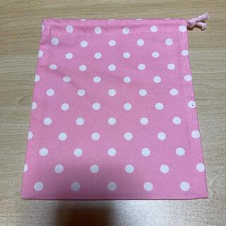 巾着袋*小*ドット(ピンク×白)(外出用品)
