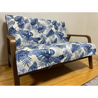 紐固定式中掛けソファカバー 100×150cm ハワイアンリーフ シーブルー(ソファカバー)