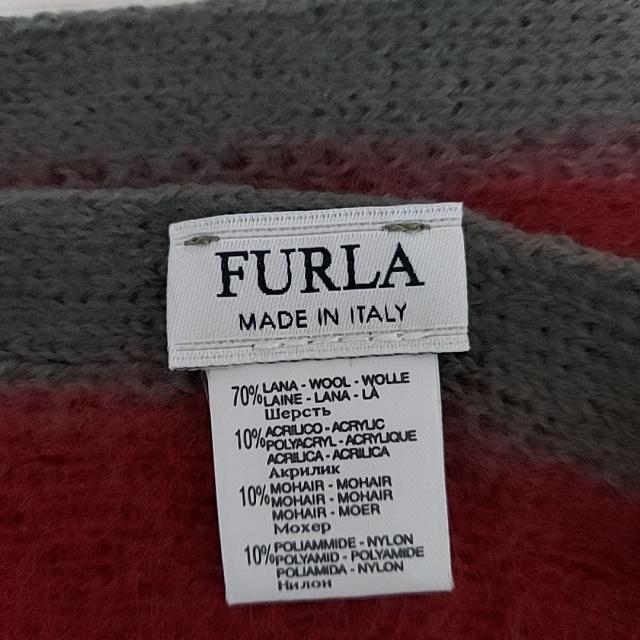 Furla(フルラ)のフルラ マフラー - ボルドー×ダークグレー レディースのファッション小物(マフラー/ショール)の商品写真