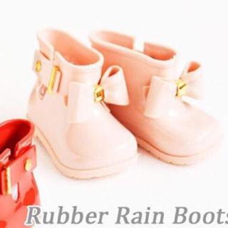 新品 リボン キッズレインブーツ ピンク 子供長靴 14 14.5メゾピアノ系(長靴/レインシューズ)
