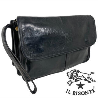 イルビゾンテ(IL BISONTE)の上質レザー フルレザー ILBISONTE クラッチバッグ 黒(セカンドバッグ/クラッチバッグ)