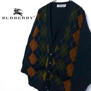 バーバリー(BURBERRY)の美品 オールド Burberry ニット 刺繍ロゴ カーディガン メンズM(カーディガン)
