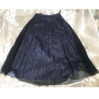 ニジュウサンク(23区)のネイビー シフォンプリーツスカート(ひざ丈スカート)