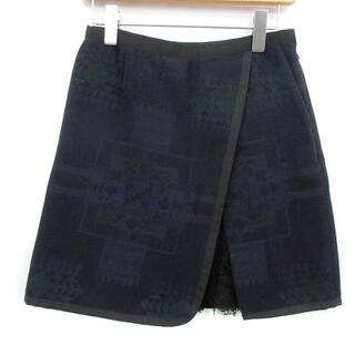 サカイラック(sacai luck)のサカイラック sacai luck ラップスカート ミニ 総柄 レース ウール(ミニスカート)