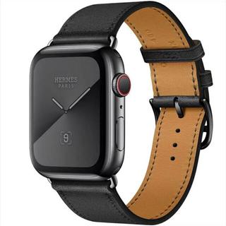 エルメス(Hermes)の【新品未使用】Apple Watch HERMES ブラックレザー(レザーベルト)