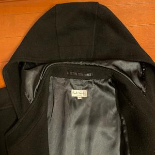 ポールスミス(Paul Smith)の【状態良】最高級ポールスミス アンゴラ フード ロングコート M(L相当)黒(ダッフルコート)