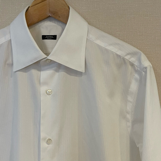 バルバ(BARBA)のBARBA シャツ ストライプ織り柄 ダブルカフス 首42cm 白(シャツ)