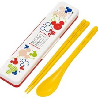 ミッキーマウス(ミッキーマウス)の[新品 未開封]  ミッキー (カラフルポップ)  箸スプーンセット(弁当用品)
