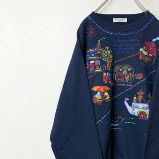 スウェット トレーナー 90年代 古着 刺繍デザイン ゆるだぼ レア(スウェット)