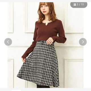イング(INGNI)のINGNI BACKレースUPツイードフレア/スカート(ひざ丈スカート)