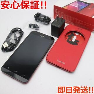 ゼンフォン(ZenFone)の美品 SIMフリー ZenFone2 Laser ZE500KL レッド (スマートフォン本体)