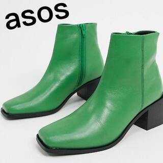 エイソス(asos)のasos*本革ブロックヒールブーツ(ブーツ)