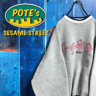 セサミストリート(SESAME STREET)の【セサミストリート】エルモビッグキャラ刺繍ラインリブビッグスウェット(スウェット)