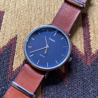 タイメックス(TIMEX)のTIMEX フェアフィールド41mm ネイビー×ブラウン TW2P97800(腕時計(アナログ))