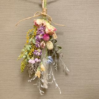ドライフラワー ミモザの春色スワッグ ブーケ 花束 インテリア(ドライフラワー)