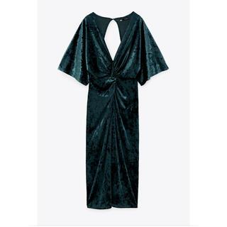 ザラ(ZARA)のZARA ザラ ミディ丈 ベルベットワンピース ドレス(ミディアムドレス)