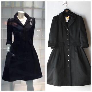 ルネ(René)の極美品 ルネ ♡ 細かドット刺繍 7分袖 ドレスコート / ワンピース 黒(スプリングコート)