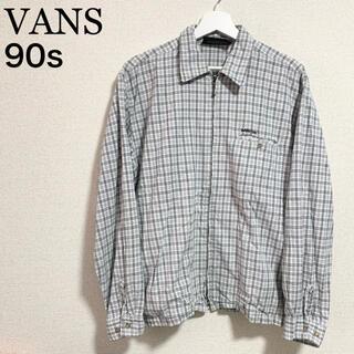 ヴァンズ(VANS)の90s VANS チェックシャツ メンズM 長袖 ジャケット ロゴマーク 旧タグ(シャツ)