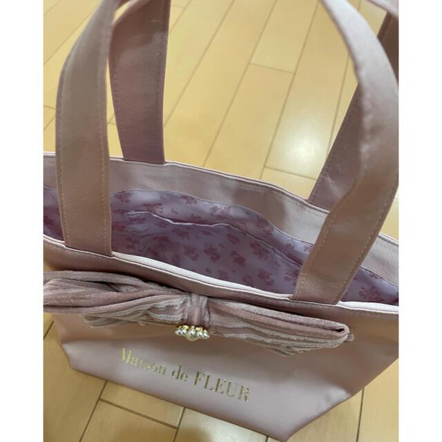 Maison de FLEUR(メゾンドフルール)のパールビジューリボントートバッグ レディースのバッグ(トートバッグ)の商品写真