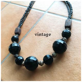 サンタモニカ(Santa Monica)のvintage France wood necklace  Black(ネックレス)