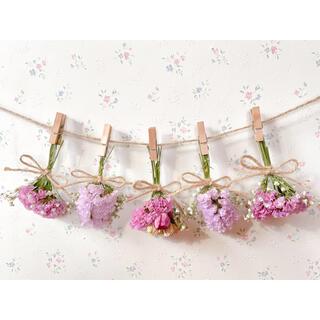 3種のピンクのバラとかすみ草のふんわりドライフラワーガーランド♡スワッグ♡ブーケ(ドライフラワー)