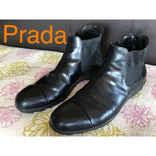 プラダ(PRADA)の美品/本物 PRADAプラダ  サイドゴアブーツ 本革 ショートブーツ(ブーツ)