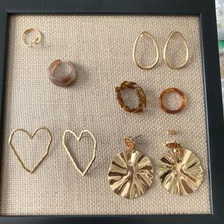 brown × gold リング4点 ピアス3点 アクセサリーセット(リング(指輪))
