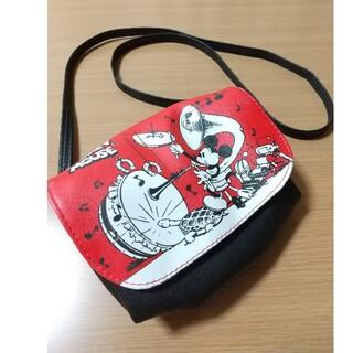 ミッキーマウス(ミッキーマウス)の【美品】レトロ柄 ミッキーポシェット ショルダーポーチ  ミッキーマウス 赤 黒(ショルダーバッグ)