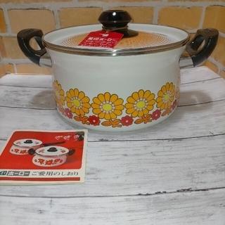 ゾウジルシ(象印)の象印 ホーロー 花柄 ピコフラワー 両手鍋 未使用美品 オレンジ昭和レトロポップ(鍋/フライパン)