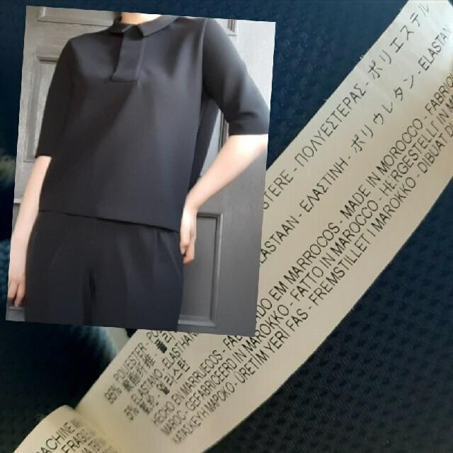 ZARA(ザラ)のZARA 5分袖ブラックショートポロシャツ レディースのトップス(ポロシャツ)の商品写真
