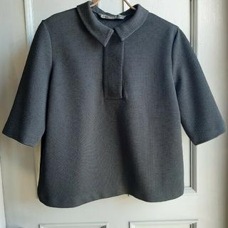 ZARA - ZARA 5分袖ブラックショートポロシャツ