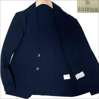 エディフィス(EDIFICE)のJ5097 美品 エディフィス シアサッカー テーラードジャケット ネイビー44(テーラードジャケット)