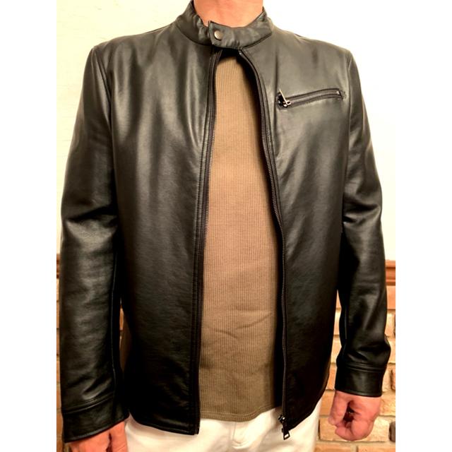schott(ショット)のAmorteアモルテ ライダースジャケット LLサイズ 黒 レザージャケット メンズのジャケット/アウター(ライダースジャケット)の商品写真