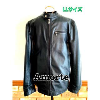 ショット(schott)のAmorteアモルテ ライダースジャケット LLサイズ 黒 レザージャケット(ライダースジャケット)