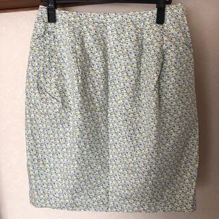スタディオクリップ(STUDIO CLIP)のスカート  花柄 グリーン(ひざ丈スカート)