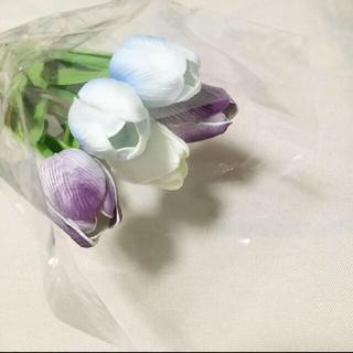 スリーコインズ(3COINS)の【激レア】チューリップ5本セット フェイクグリーン 造花 パルクローゼット 青紫(置物)