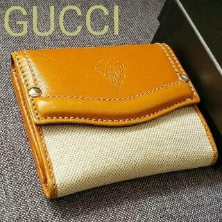 グッチ(Gucci)のGUCCIグッチ クレストレザー キャンパス切り替え2つ折り財布(財布)