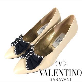 ヴァレンティノガラヴァーニ(valentino garavani)の着用1回 超美品 VALENTINO GARAVANI レザーリボン パンプス(ハイヒール/パンプス)