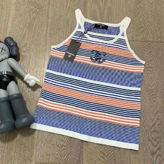 シャネル(CHANEL)のニューファッションカラーストライプ刺繡ロゴレディースニットベスト(ベスト/ジレ)