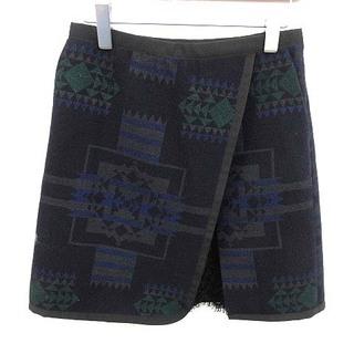 サカイラック(sacai luck)のサカイラック sacai luck ブランケットウールスカート ミニ 台形 総柄(ミニスカート)